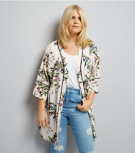 Curves Cream Floral Print Piped Kimono | New Look