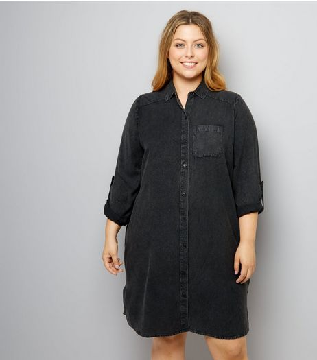 Curves Black Washed Denim Shirt Dress | New Look