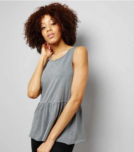 Grey Peplum Hem Tank Top | New Look
