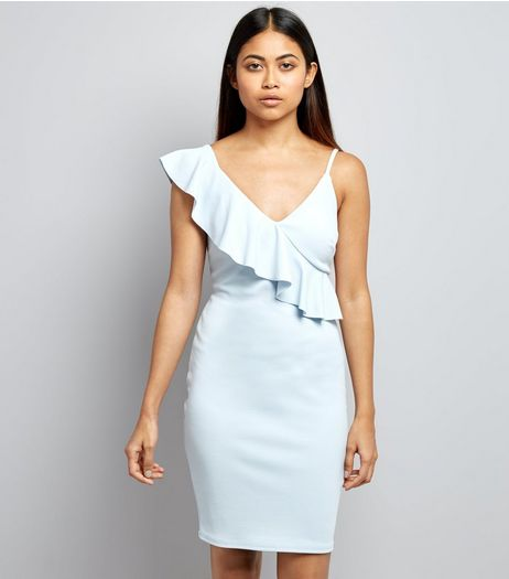 Petite Pale Blue Asymmetric Frill Trim Bodycon Dress | New Look