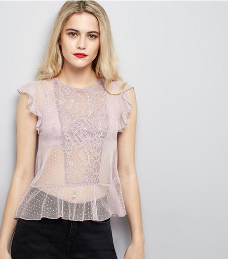 Lilac Lace Frill Trim Top | New Look