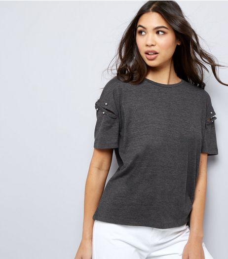 Dark Grey Cut Out Pin Trim Short Sleeve T-Shirt  | New Look