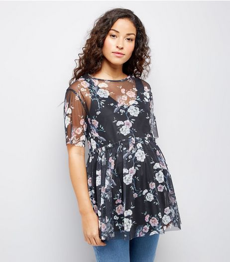 Maternity Black Floral Print Peplum Hem Mesh Top | New Look