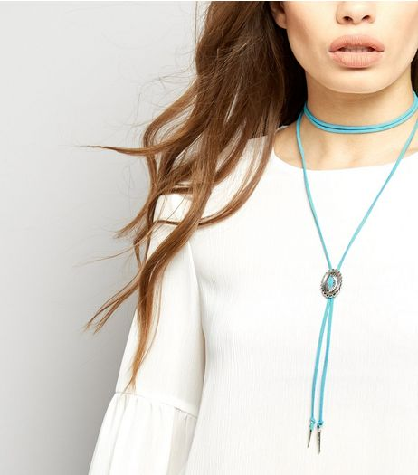 Pale Blue Boho Layered Choker | New Look