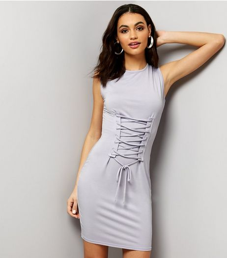Innocence Lilac Lace Up Front Bodycon Dress | New Look
