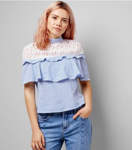 Innocence Pale Blue Stripe Lace Yoke Frill Trim Top | New Look