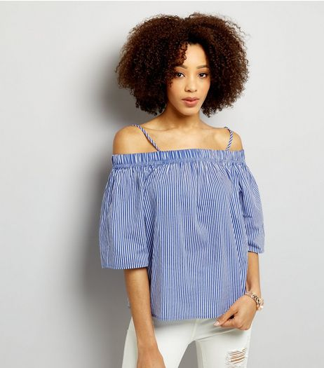 Innocence Blue Stripe Bardot Neck Top | New Look