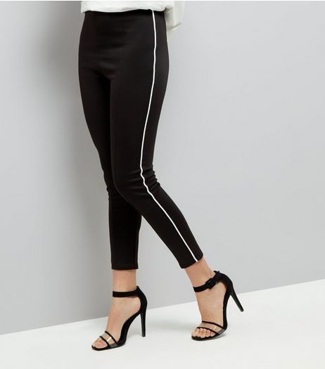 Innocence Black Contrast Trim Leggings  | New Look