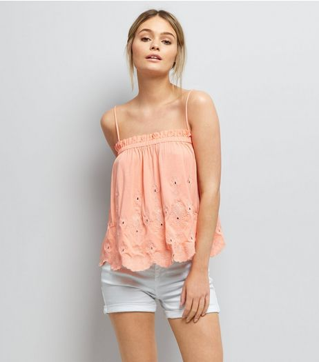 Orange Embroidered Cami Top  | New Look