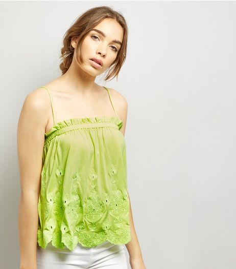 Neon Yellow Embroidered Hem Cami Top | New Look