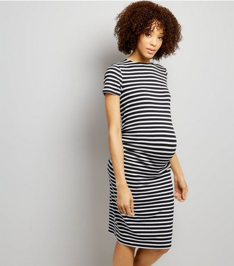 Maternity Black Stripe Short Sleeve Midi Dress | New Look