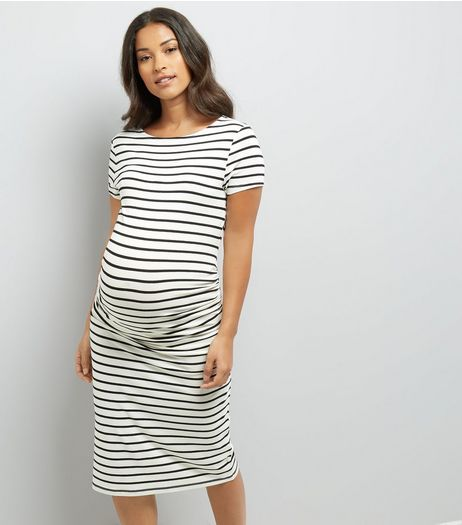 Maternity White Stripe Short Sleeve Midi Dress | New Look