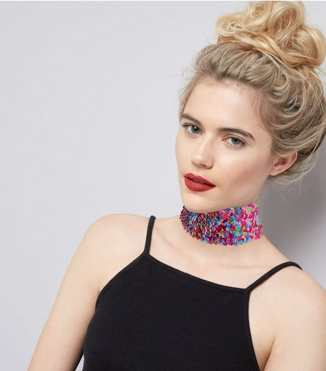 Pink and Blue Sequin Choker | New Look