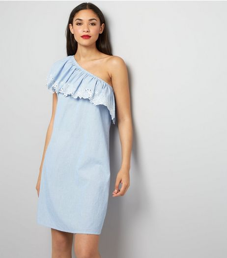 Tall Blue Stripe Floral Embroidered Asymmetric Frill Dress | New Look