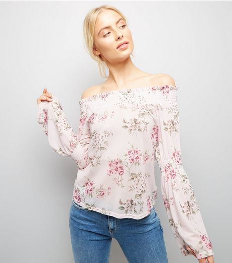 Pink Floral Print Bardot Neck Top  | New Look