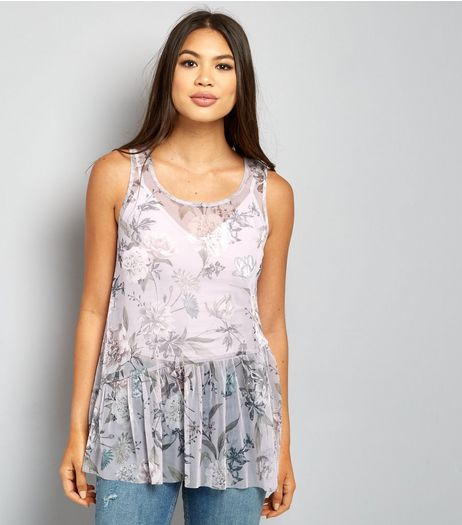 Pink Mesh Floral Print Peplum Hem Top  | New Look