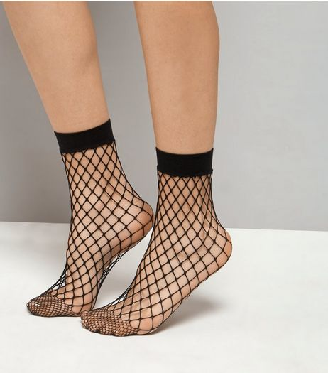 Black Oversized Fishnet Socks | New Look