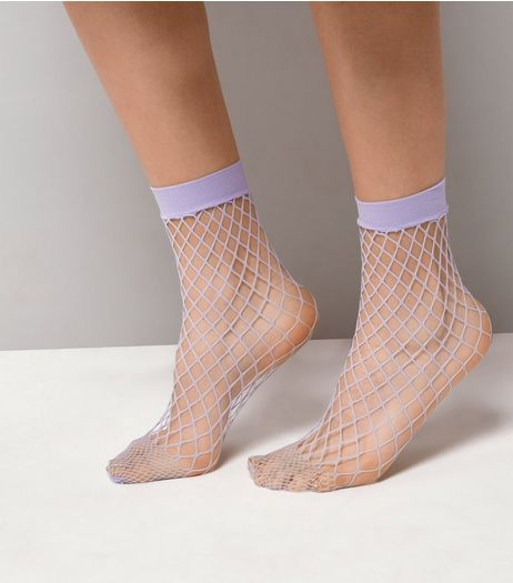 Lilac Oversized Fishnet Socks | New Look