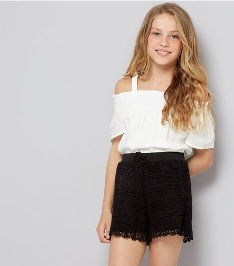 Teens Black Crochet Lace Shorts | New Look