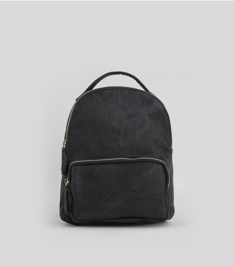 Black Acid Wash Mini Backpack | New Look