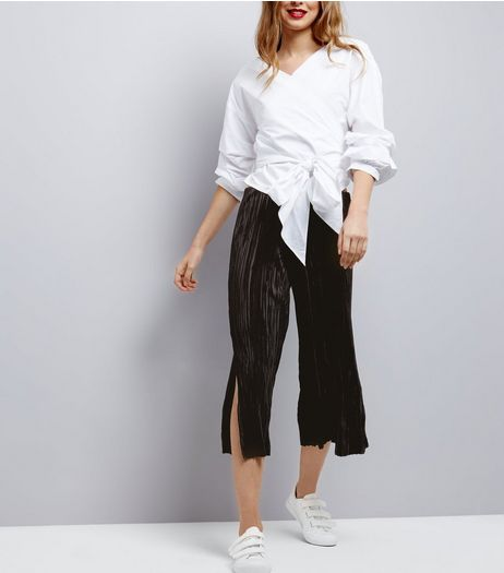 Black Plisse Split Side Culottes | New Look