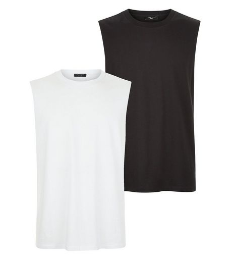 2 Pack Black And White Tank Tops | New Look