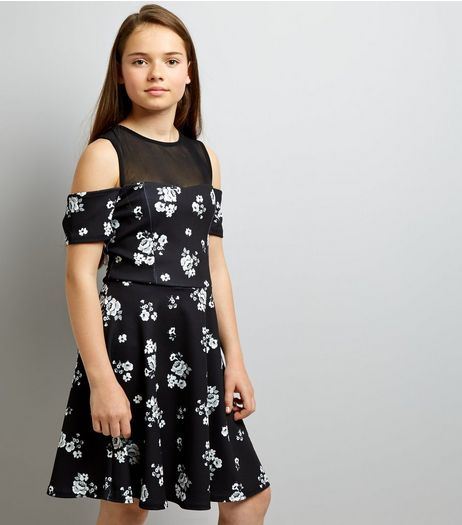 Teens Black Floral Print Mesh Panel Skater Dress | New Look