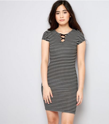Teens Black Stripe Lattice Front Bodycon Dress | New Look