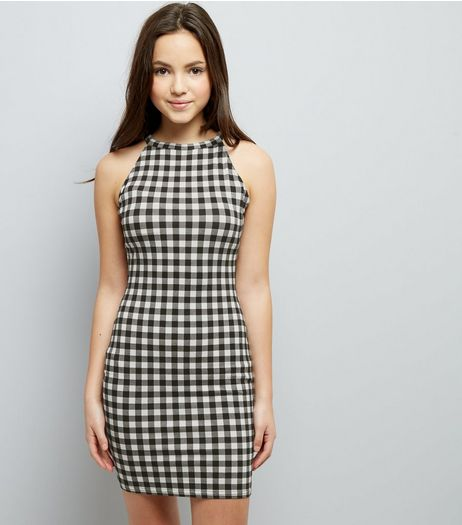 Teens Black Gingham Bodycon Dress | New Look