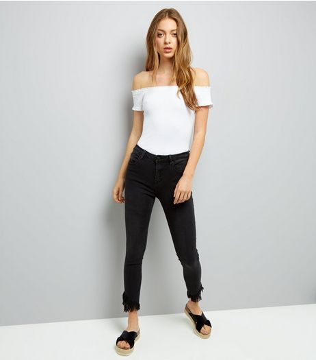 Black Frayed Angled Hem Skinny Jeans | New Look