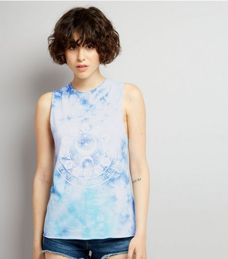 Blue Tie Dye Ladder Back Tank Top | New Look