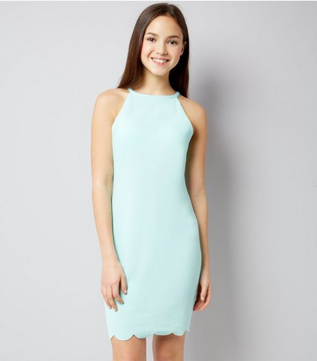 Teens Mint Green High Neck Scallop Hem Dress | New Look