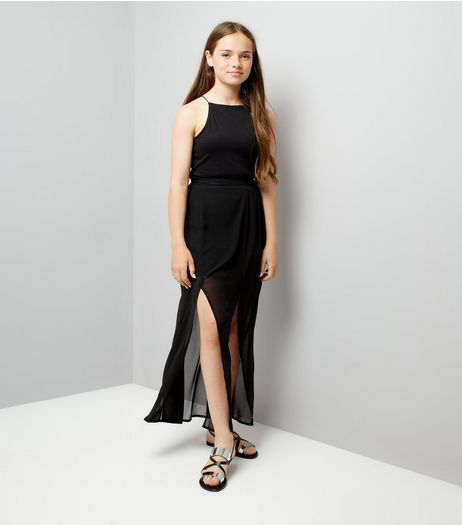 Teens Black Chiffon Maxi Skirt | New Look