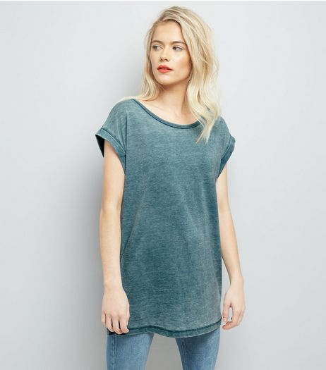 Blue Burn Out Acid Wash Boyfriend T-Shirt | New Look