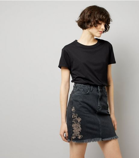 Black Metallic Embellished Mom Denim Skirt | New Look