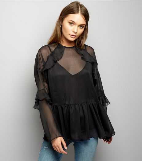 Anita and Green Black Sheer Frill Trim Blouse | New Look