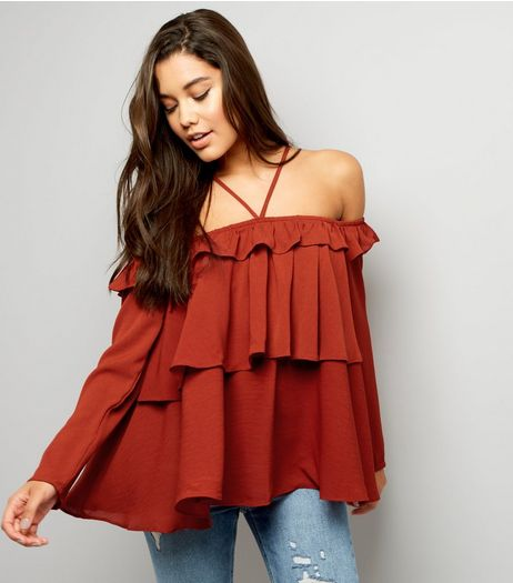Anita and Green Orange Frill Trim Bardot Top  | New Look