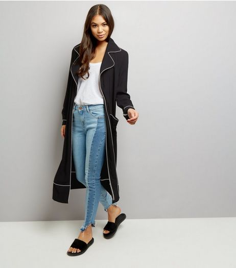 Anita and Green Black Contrast Trim Duster Coat  | New Look