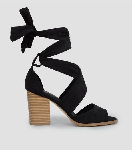 Wide Fit Black Tie Up Block Heels | New Look