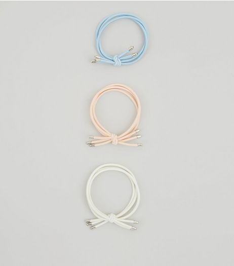 3 Pack White Pink and Blue Metal Trim Hair Bands | New Look