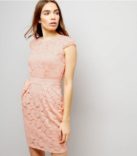 Blue Vanilla Pink Floral Lace Tie Back Tulip Dress | New Look