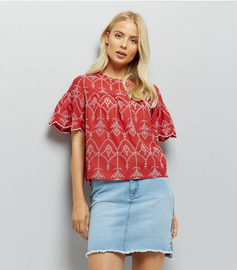 Red Cut Out Embroidered Smock Top | New Look