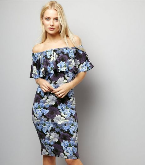 Blue Vanilla Blue Floral Print Bardot Dress | New Look