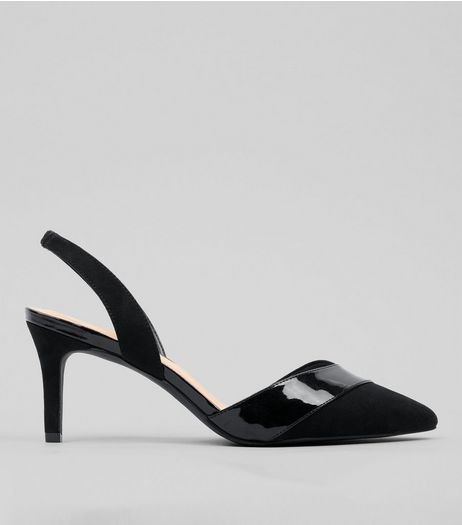 Wide Fit Black Patent Trim Sling Back Heels | New Look