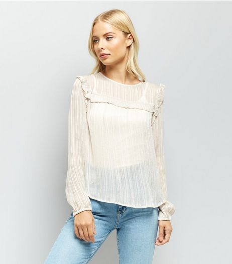 Mink Stripe Frill Trim Yoke Top | New Look