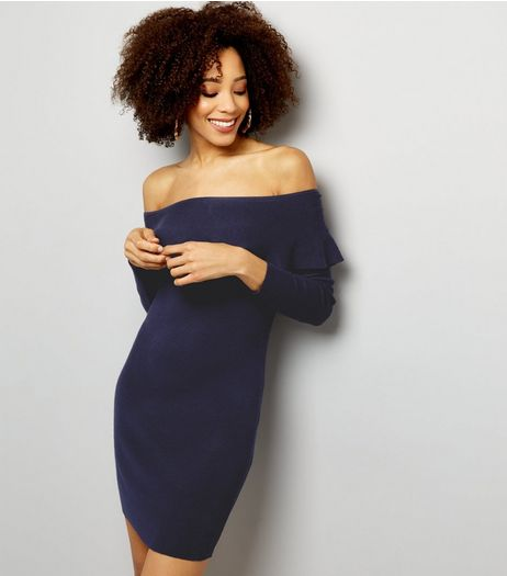 Blue Vanilla Navy Frill Trim Bardot Neck Dress | New Look