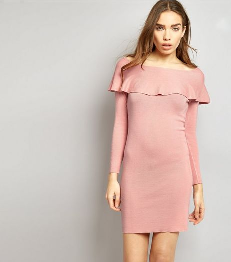 Blue Vanilla Pink Frill Trim Bardot Neck Dress | New Look