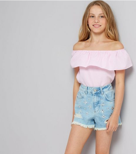 Teens Blue Denim Gem Stone Shorts | New Look