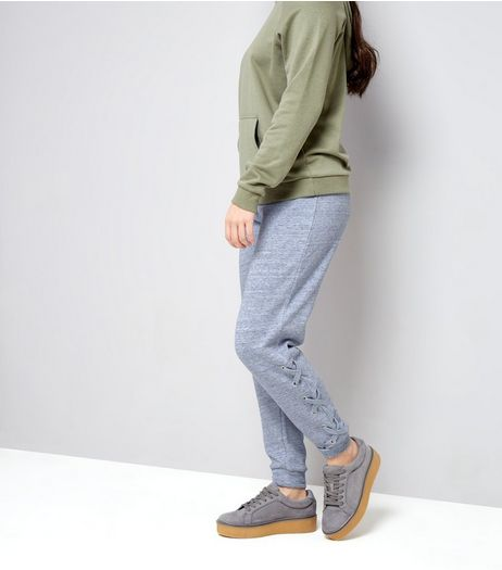 Teens Grey Lace Up Hem Joggers | New Look