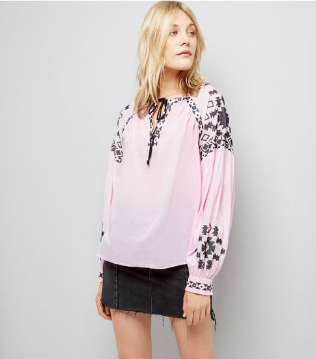 Pink Contrast Embroidered Smock Top | New Look